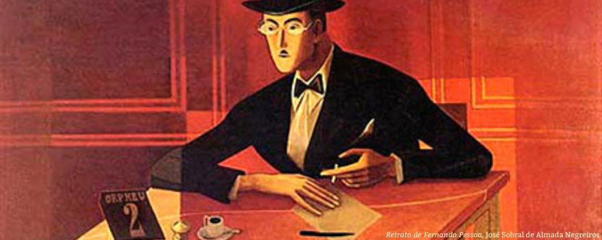 Dessin de José Sobral de Almadada Nefreiros représnant Fernando Pessoa à table avec une cigarêtte.